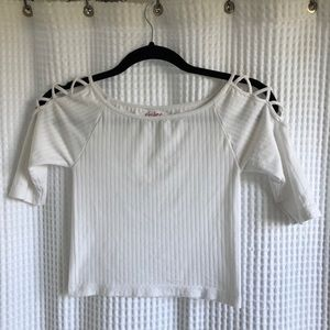 Cropped white ribbed mid sleeve